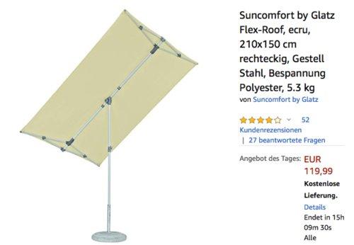 """Suncomfort by Glatz """"Flex-Roof""""  210x150 cm Sonnenschirm, beige - jetzt 29% billiger"""