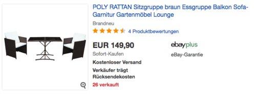 SVITA Poly Rattan Sitzgruppe/Essgruppe (1 Tisch und 2 Stühle) - jetzt 40% billiger