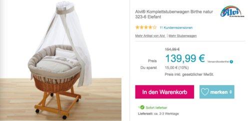 "TAlvi® Komplettstubenwagen ""Birthe natur 323-6 Elefant"" - jetzt 10% billiger"