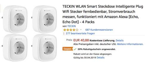 TECKIN WLAN Smart Steckdose, funktioniert mit Amazon Alexa und Google Assistant (4 Pack) - jetzt 20% billiger