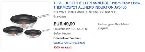 Tefal A704S3 Duetto Pfannen-Set (28cm, 24cm und 20cm) - jetzt 17% billiger