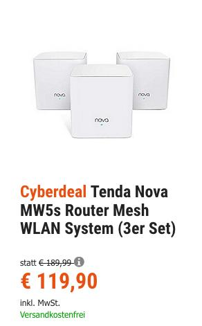 Tenda Nova MW5s Router Mesh WLAN System (3er Set) - jetzt 24% billiger