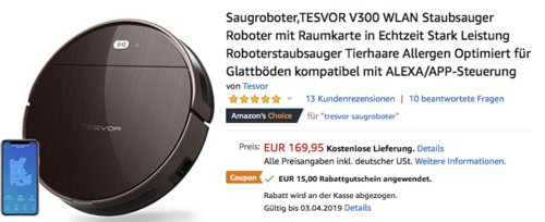 TESVOR V300 WLAN Saugroboter, ALEXA/APP-Steuerung - jetzt 9% billiger