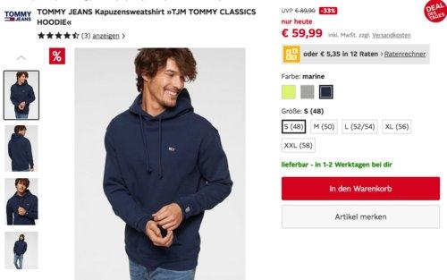 "TOMMY JEANS Herren Kapuzensweatshirt ""TJM TOMMY CLASSICS HOODIE"", versch. Farben - jetzt 17% billiger"