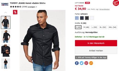 """Tommy Jeans Original Stretch Herren Freizeithemd """"Sabim Shirt"""", versch. Farben und Größen - jetzt 26% billiger"""