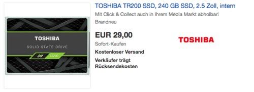 TOSHIBA TR200 240 GB interne SSD-Festplatte - jetzt 31% billiger