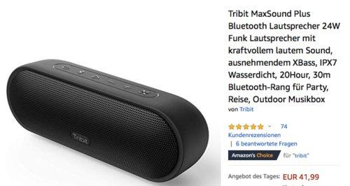 Tribit MaxSound Plus Bluetooth-Lautsprecher, 24W - jetzt 25% billiger