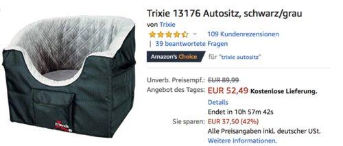 Trixie 13176 Autositz für kleine Hunde - jetzt 17% billiger