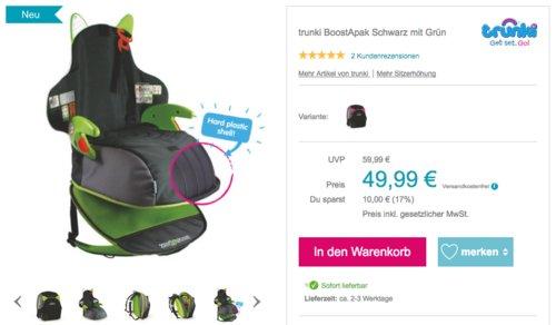 Trunki BoostApak Kinderrucksack mit integriertem Kindersitz Gruppe 2/3, grün - jetzt 17% billiger