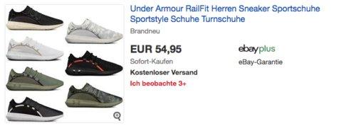 Under Armour RailFit Herren Sneaker in versch. Farben und Größen - jetzt 15% billiger