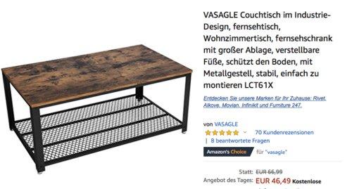VASAGLE Couchtisch im Industrie-Design (LCT61X), 106,2 x 45 x 60,2 cm - jetzt 25% billiger