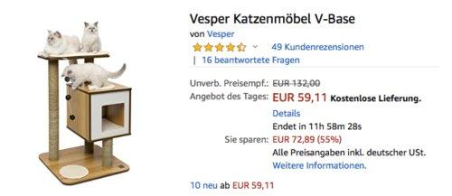 Vesper Katzenmöbel V-Base, Walnussfarbe - jetzt 25% billiger