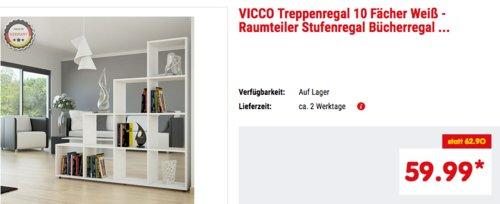 VICCO 10 Fächer Treppenregal (29 x 138,5 x 142,5 cm), weiß - jetzt 8% billiger