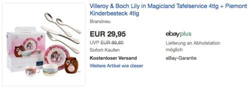 Villeroy & Boch Lily in Magicland Tafelservice 4-teilig + Villeroy & Boch Piemont Kinderbesteck 4-teilig - jetzt 48% billiger