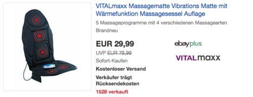 VITALmaxx 04877 Massagematte mit Wärmefunktion, 230 V - jetzt 19% billiger