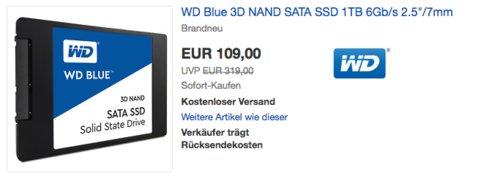 WD Blue 3D NAND SATA 1TB interne SSD-Festaplatte - jetzt 13% billiger