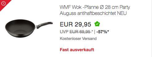 WMF Party Wok-Pfanne Ø 28 cm, Aluguss antihaftbeschichtet (05.8978.4291) - jetzt 30% billiger