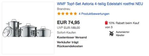 "WMF Topf-Set ""Astoria"" 4-teilig - jetzt 15% billiger"