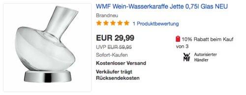 """WMF Wein-Wasserkaraffe """"Jette"""" 0,75 Liter, Glas - jetzt 27% billiger"""