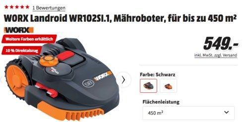 WORX Landroid WR102SI.1 Mähroboter Schwarz, für bis zu 450 m² - jetzt 10% billiger