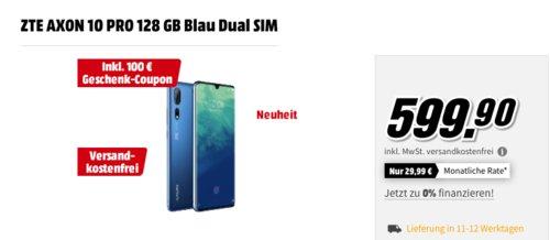 ZTE AXON 10 PRO 128 GB Blau Dual SIM Smartphone inkl. 100 € Media Markt Geschenk-Coupon - jetzt 14% billiger