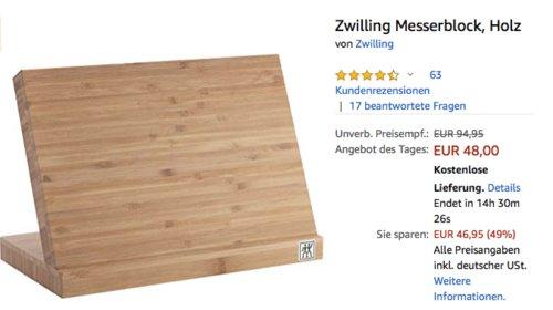 Zwilling 35046-110-0 Bambus-Messerblock mit Magnet - jetzt 24% billiger