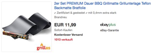 2er Set grillas® Premium Grillmatte 40x50cm zum Grillen und Backen - jetzt 11% billiger