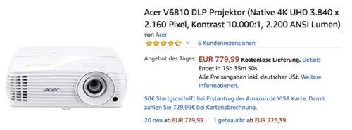 Acer V6810 DLP Projektor ((Native 4K UHD 3.840 x 2.160 Pixel, Kontrast 10.000:1, 2.200 ANSI Lumen) - jetzt 13% billiger