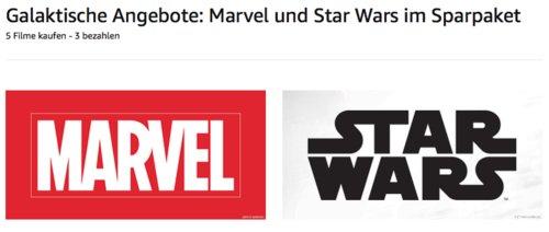 Amazon Aktion: 5 Marvel und Star Wars Filme kaufen - 3 bezahlen - jetzt 27% billiger