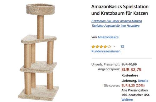 AmazonBasics Spielstation und Kratzbaum für Katzen, 45 cm x 45 cm x 117 cm - jetzt 20% billiger