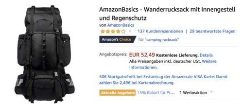 AmazonBasics - Wanderrucksack mit Innengestell und Regenschutz, 75 Liter - jetzt 25% billiger