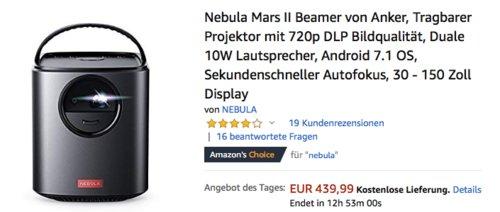 Anker Nebula Mars II Tragbarer LED-Beamer, 300 ANSI, 720p - jetzt 20% billiger