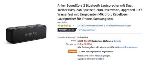 Anker SoundCore 2 Bluetooth Lautsprecher (2x6 W), schwarz - jetzt 10% billiger
