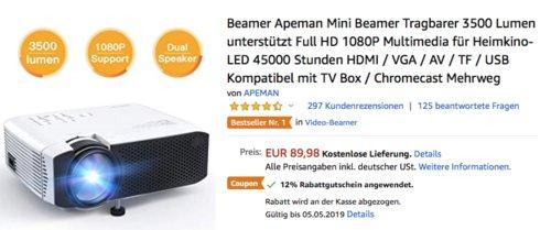 APEMAN LC350 Mini LED-Beamer, 3500 Lumen - jetzt 12% billiger