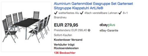 """ArtLife Aluminium Gartengarnitur """"Mailand"""" 9-teilig (Tisch mit 8 Stühlen) - jetzt 11% billiger"""