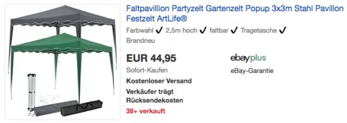 "ArtLife Faltpavillon ""Vivara"" 3x3 m mit Tragetasche, grau oder grün - jetzt 22% billiger"