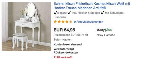 """ArtLife Schminktisch/Kosmetiktisch """"Lena"""" mit Hocker und Hocker, weiß - jetzt 8% billiger"""