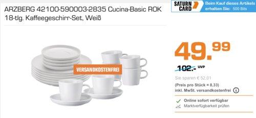 ARZBERG Cucina-Basic ROK 18-tlg. Kaffeegeschirr-Set, weiß - jetzt 31% billiger