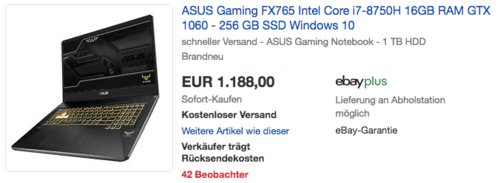 Asus TUF FX765GM-EV191T 17,3 Zoll Gaming Laptop (i7-8750H, 16GB RAM, GTX 1060 6 GB, 256 GB SSD, Windows 10) - jetzt 9% billiger