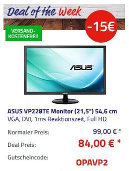 "ASUS VP228TE (21,5"") 54,6 cm Full-HD Monitor (1ms, VGA, DVI) - jetzt 15% billiger"