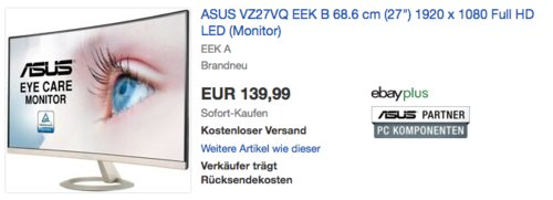Asus VZ27VQ 68,58 cm (27 Zoll) Curved Monitor (Full HD, 178º / 178º, Lautsprecher) - jetzt 11% billiger