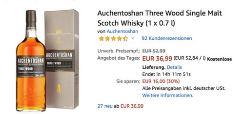 Auchentoshan Three Wood Single Malt Whisky 43,0% vol. - 0,7 Liter - jetzt 10% billiger