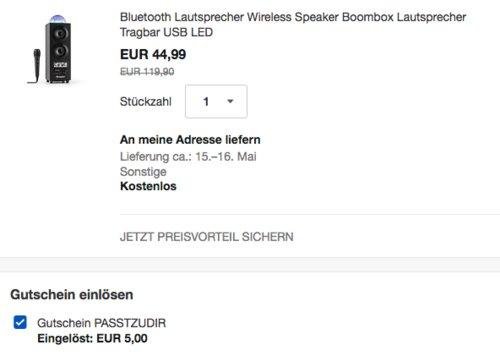 auna DiscoStar Black portabler 2.1-Bluetooth-Lautsprecher inkl. Fernbedienung und Kabel-Mikrofon - jetzt 11% billiger