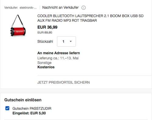 auna Dr. Red Boom 2.1-Bluetooth-Lautsprecher mit UKW-Radio, 20W - jetzt 14% billiger