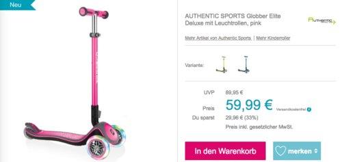 """AUTHENTIC SPORTS """"Globber Elite Deluxe"""" Scooter mit Leuchtrollen, versch. Farben - jetzt 16% billiger"""
