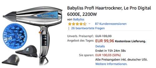 Babyliss Profi Haartrockner Le Pro Digital 6000E, 2200W - jetzt 20% billiger