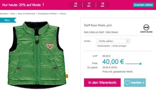 Babymarkt.de - bis zu 20% Rabatt auf Mode am 1.5.19: z.B. Steiff Boys Westen Grün (80-116) - jetzt 15% billiger