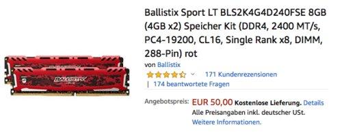 Ballistix Sport LT BLS2K4G4D240FSE 8GB (4GB x2) Speicher Kit (DDR4, 2400 MT/s, PC4-19200, CL16) - jetzt 12% billiger