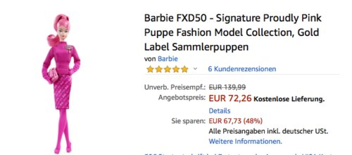 Barbie FXD50 - Signature Proudly Pink Puppe,  Barbie Fashion Model Collection (BFMC) - jetzt 8% billiger