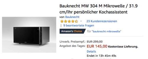 Bauknecht MW 304 M Mikrowelle mit Grillfunktion/Dampfgarfunktion, 30L Garraum - jetzt 8% billiger